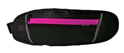 AURA LED Fanny Pack, Running belt With Expanding Zipped Pocket, Waterproof Ultra High Visibility LED Technology, Offers Up To 3 Hours Of Battery Life, Pink, One Size Fits All from Aura Active