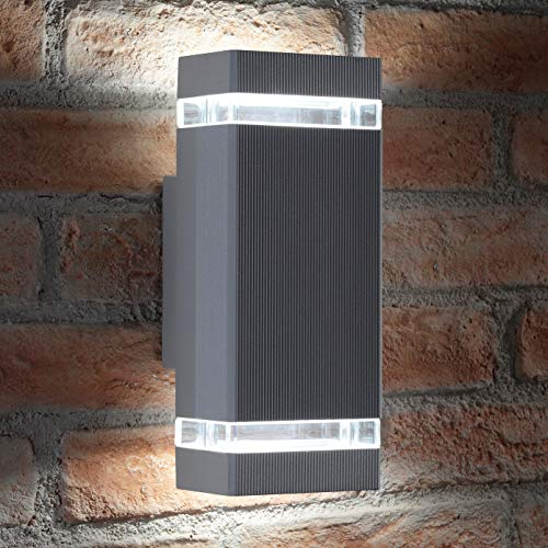 Auraglow Indoor/Outdoor Double Up & Down Wall Light Cool White LED Bulbs Included (Silver) from Auraglow