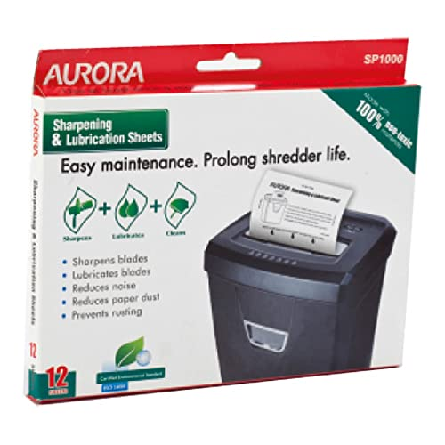 Aurora SP1000 Shredder Lubrication and Sharpening Sheets (Pack of 12) from Aurora