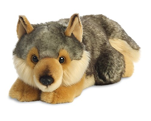 AURORA, 26264, MiYoni Wolf Lying, 11In, Soft Toy, Brown and Grey from AURORA