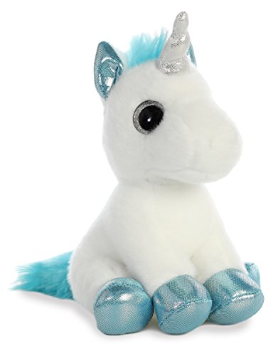 AURORA, 60956, Sparkle Tales, Snowbelle Unicorn, 7In, Soft Toy, White and Blue, 7-Inch from AURORA