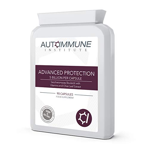 Advanced Protection. Saccharomyces Boulardii Supplement (250mg, 5 Billion CFU). 90 Easy to Swallow Capsules of High Strength S Boulardii. from Autoimmune Institute