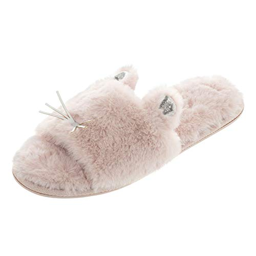 52944174d4c7 Autumn Faith Ladies Sliders Kitty Cat Novelty Womens Slippers Pink Faux Fur  Upper Silver Whiskers 3D