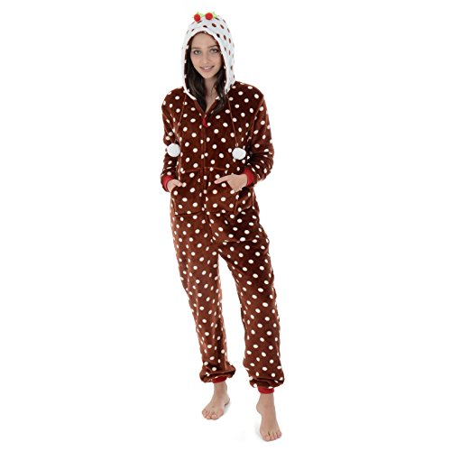 Autumn Faith Womens Christmas Pudding Fleece All in One Pyjamas with Hood  Ladies Novelty PJs Jumpsuit 7edcaec0a