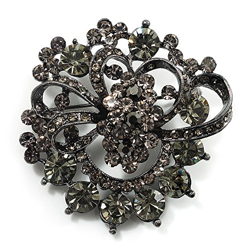 Avalaya Ash Grey Diamante Corsage Brooch (Black Tone Metal) from Avalaya
