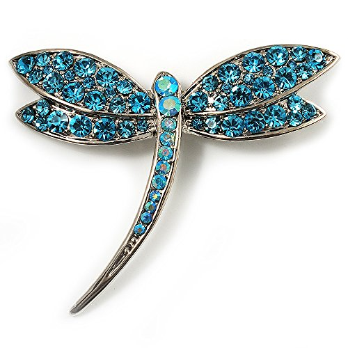 Avalaya Classic Azure Diamante Dragonfly Brooch (Silver Tone) from Avalaya