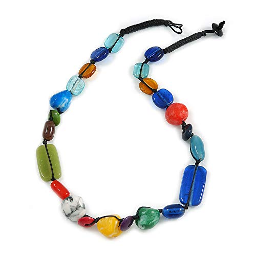 Avalaya Multicoloured Ceramic, Glass, Wood and Resin Beads Black Cord Necklace - 55cm L from Avalaya