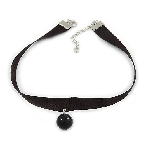Black Silk Ribbon Choker Necklace with Black Ceramic Bead 15mm Pendant - 30cm L/ 5cm Ext from Avalaya