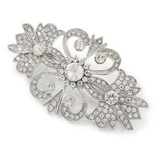 Avalaya Bridal/Wedding/Prom/Party Art Deco Style Rhodium Plated Austrian Crystal Barrette Hair Clip Grip - 80mm Across from Avalaya