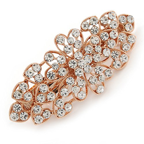 Avalaya Bridal Wedding Prom Rose Gold Tone Filigree Diamante Floral Barrette Hair Clip Grip - 80mm Across from Avalaya