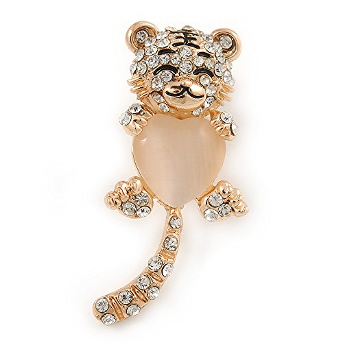 Avalaya Cute Crystal Baby Tiger Brooch in Gold Plating - 45mm L from Avalaya