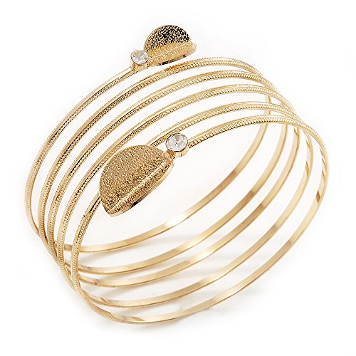 Avalaya Gold Plated Crystal Leaf Armlet Bangle - up to 28cm upper arm from Avalaya