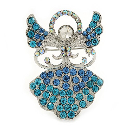 Avalaya Light Blue Crystal Angel Brooch In Rhodium Plating - 45mm L from Avalaya
