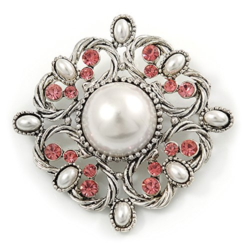 Vintage Bridal Corsage Simulated Pearl Pink Crystal Brooch In Silver Tone Metal - 50mm D from Avalaya