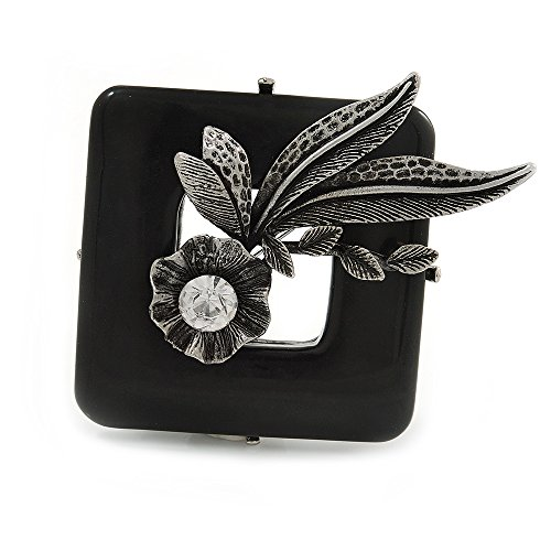 Avalaya Vintage Inspired Black Ceramic Frame with Flowers Pewter Tone Brooch - 50mm from Avalaya