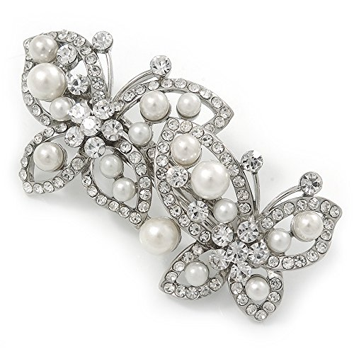 White Glass Pearl, Clear Crystal Butterfly Barrette Hair Clip Grip In Silver Tone - 70mm Across from Avalaya