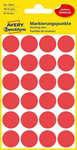 Avery Colour Coding Dots, Red, ø18mm Labels 96 from Avery Dennison Zweckform