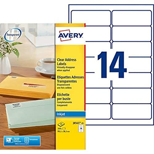 AVERY J8563-25 350 Transparent Adhesive Delivery Labels Customisable 99.1 x 38.1 mm. Printing: Inkjet from AVERY