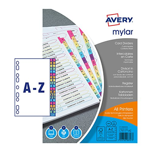 Avery 05880002 A4 Assorted A-Z 20 Part Mylar Pre-Printed Dividers, Neon Coloured Tabs, Pack of 5 from AVERY