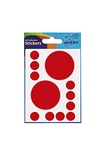 Avery 32-400 Company Seal Labels, 51 mm Diameter, 8 Labels - Red from AVERY