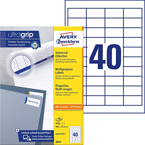 Avery Zweckform Labels 48.5 x mm, Edge 48,5 x 25,4 mm White from AVERY