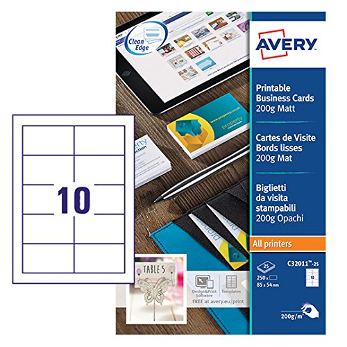 Avery C32011-25 Printable Single-Sided Business Cards, 10 Cards Per A4 Sheet from AVERY