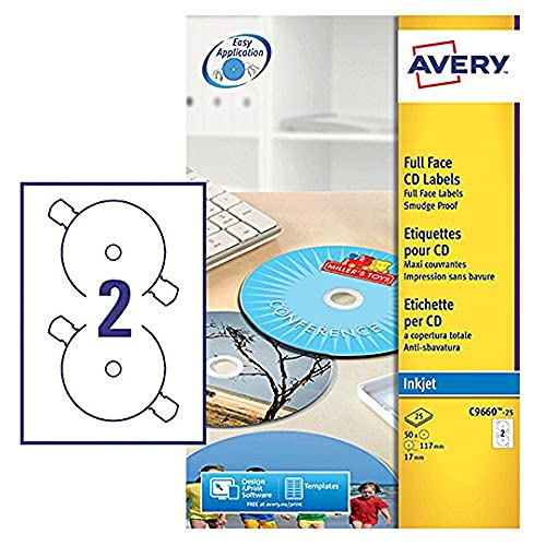 Avery C9660-25 Self-Adhesive Glossy Full Face CD Labels, 2 Labels Per A4 Sheet,White from AVERY