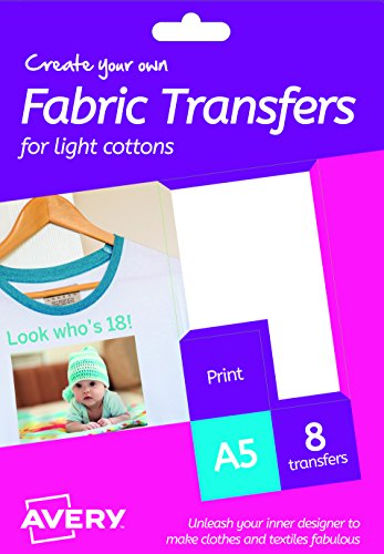 Avery HTT01 Printable Fabric Transfers for Light Cottons, 1 transfer Per A5 Sheet from AVERY