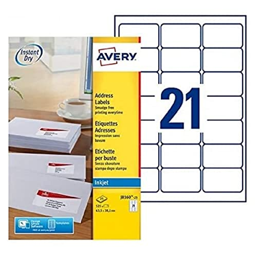 AVERY J8160-25 - 525 Adhesive Address Labels Customisable White 63.5 x 38.1 mm. Printing: Inkjet from AVERY