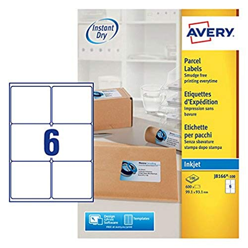Avery Self Adhesive Parcel Shipping Labels, Inkjet Printers, 6 Labels Per A4 Sheet, 600 labels, QuickDRY (J8166), White from AVERY