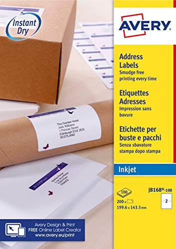 Avery Self Adhesive Parcel Shipping Labels, Inkjet Printers, 2 Labels Per A4 Sheet, 200 labels, QuickDRY (J8168), White from AVERY