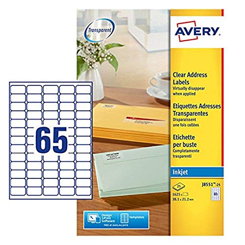 Avery Self Adhesive Clear Mini Return Address Labels, Inkjet Printers, 65 Labels Per A4 Sheet, 1625 labels, QuickDRY (J8551) from AVERY