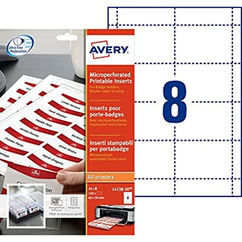 Avery L4728-20 Printable Name Badge Insert Refills (90 x 60 mm Inserts, Pack of 160) - White from AVERY