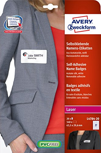 Avery Zweckform L4784-20 Name Labels 20 Sheets / 540 Labels / 63.5 x 29.6 mm White from Avery Dennison Zweckform