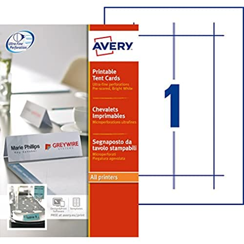 Avery L4796-20 Printable Place/Tent Cards, 1 Card Per A4 Sheet, White from AVERY