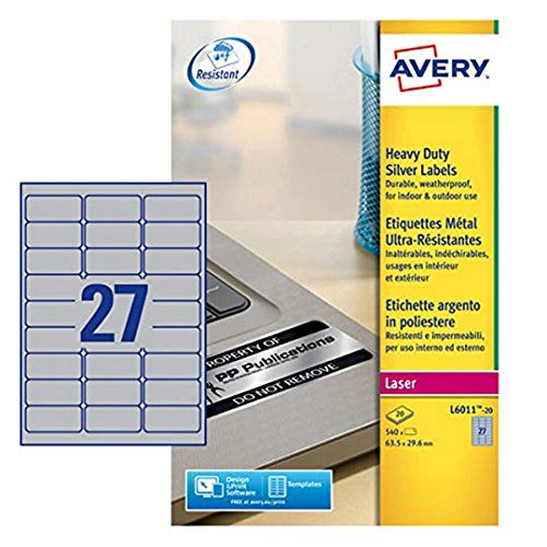 avery l6011 20 extra strong adhesive silver heavy duty labels 27
