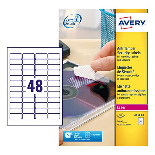 Avery L6113-20 Extra-Strong Adhesive Anti Tamper Security Labels, 48 Labels Per A4 Sheet, White from AVERY