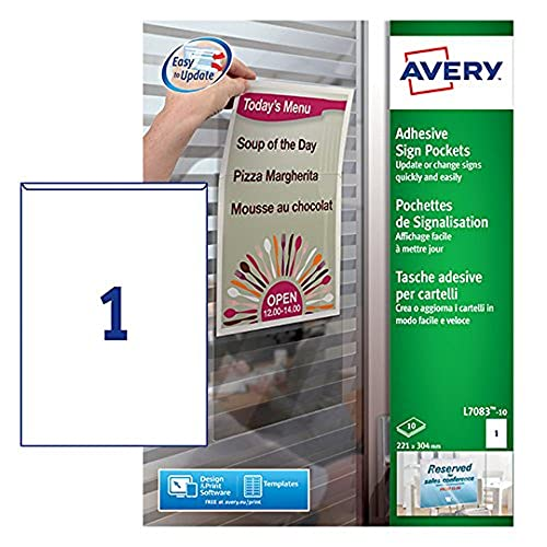 Avery L7083-10 Self-Adhesive Repositionable Clear Sign Pocket, 1 sign Per A4 Sheet from AVERY