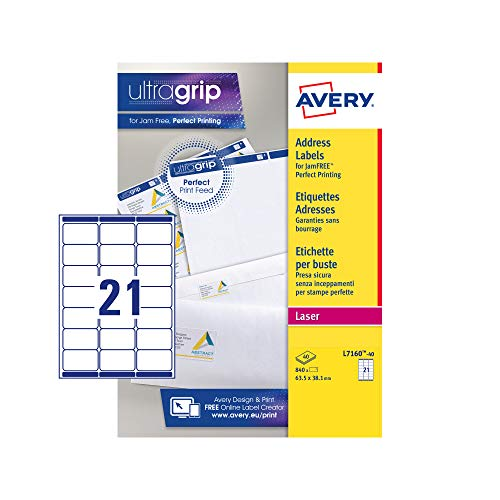 Avery Self Adhesive Address Mailing Labels (Amazon FBA Barcode Labels), Laser Printers, 21 Labels Per A4 Sheet, 840 labels, UltraGrip (L7160), White from AVERY