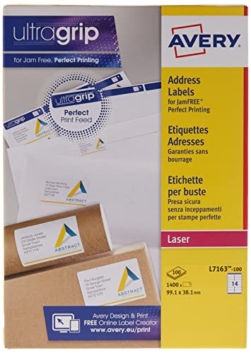 Avery Self Adhesive Address Mailing Labels, Laser Printers, 14 labels per A4 Sheet, 1600 Labels, UltraGrip (L7162-100 ), White from AVERY