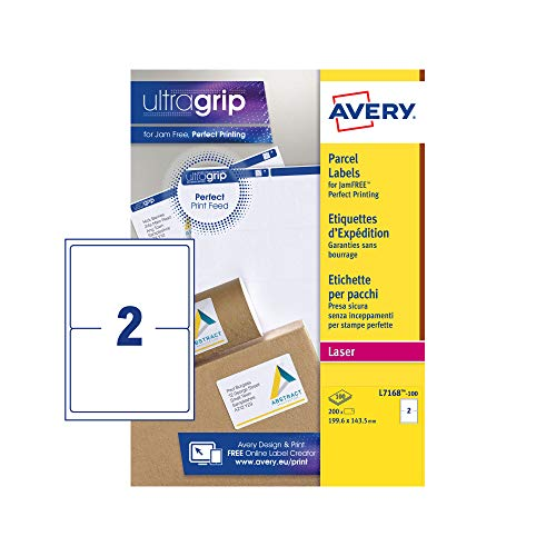Avery L7168 Self Adhesive Parcel Shipping Labels, Laser Printers, 2 Labels Per A4 Sheet, 200 Labels, UltraGrip, White from AVERY