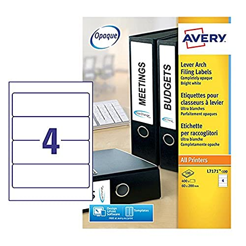 Avery L7171-100 Self-Adhesive Lever Arch File Labels, 4 Labels Per A4 Sheet, 100 Labels Per Pack, White from AVERY
