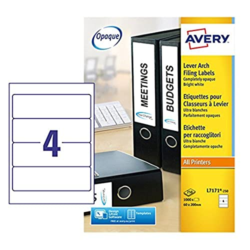 Avery L7171-250 Self-Adhesive Lever Arch File Labels, 4 Labels Per A4 Sheet, 100 Labels Per Pack from AVERY