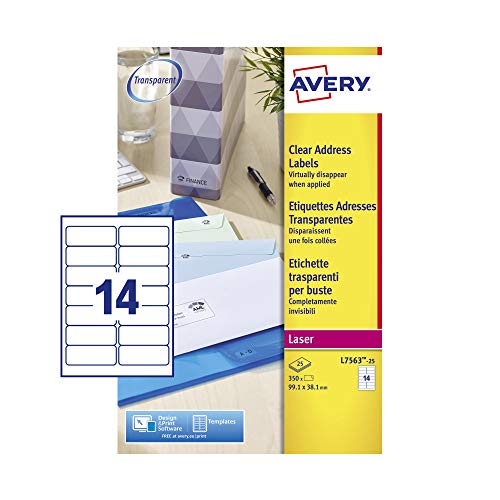 Avery Self Adhesive Clear Address Mailing Labels, Laser Printers, 14 Labels Per A4 Sheet, 350 labels, QuickPEEL (L7563) from AVERY