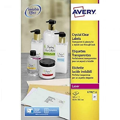 Avery L7782-25 Self-Adhesive Crystal Clear Transparent Labels, 21 Labels Per A4 Sheet from AVERY