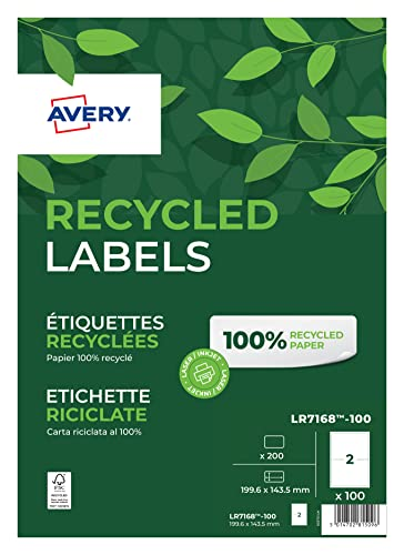 Avery Self Adhesive Recycled Parcel Shipping Labels, Laser Printers, 2 Labels Per A4 Sheet, 200 labels, QuickPEEL, White from AVERY