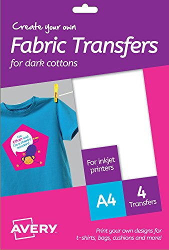 Avery MD1003 Printable Fabric Transfers For Dark Cottons, 1 transfer Per A4 Sheet, white from AVERY