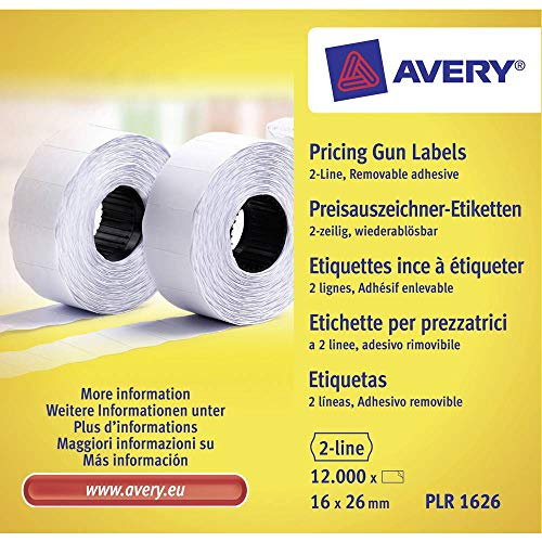 Avery PLR1626 Removable Label Roll for PL2/18 2 Line Pricing Gun - White, (26 x 12 mm, 1200 Labels Per Roll) from AVERY