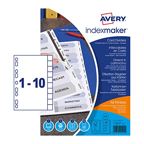 Avery 01812061 A4 IndexMaker Punched Card Dividers with Printable Tabs, 10 Part Dividers - White from AVERY