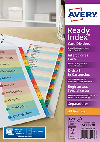 Avery 01966501 Ref A4 ReadyIndex Pre-Printed Punched Dividers, 1-15 Numeric - Multicoloured from AVERY